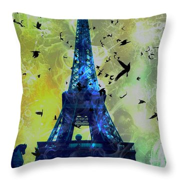 Glowing Eiffel Tower Throw Pillow