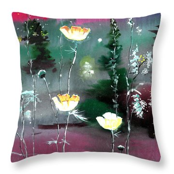 Glowing Flowers Throw Pillow by Anil Nene