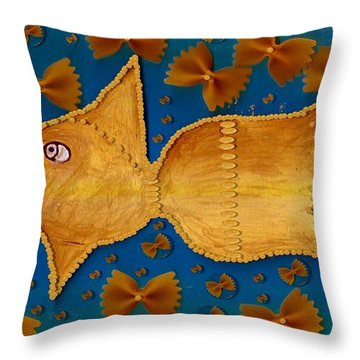 Glowing  Gold Fish Throw Pillow by Pepita Selles