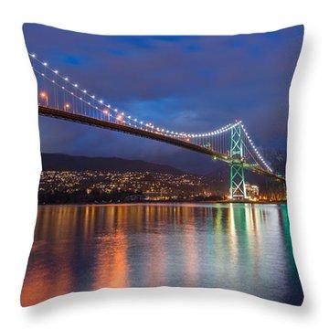 Glowing Grouse Mountain Throw Pillow by James Wheeler