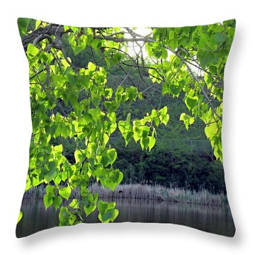 Glowing Leaves Throw Pillow