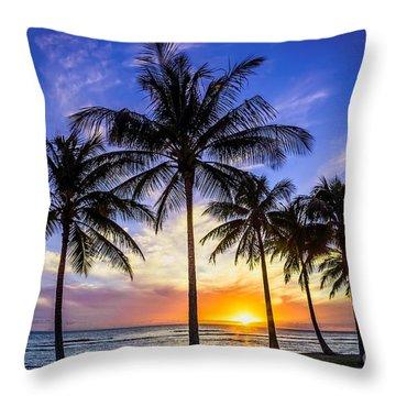 Glowing Orange Hawaiian Sunset Throw Pillow