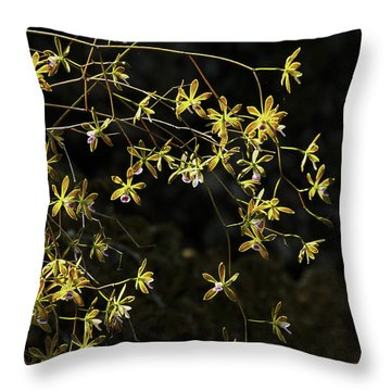 Glowing Orchids Throw Pillow