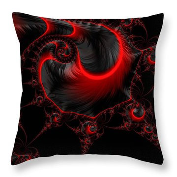 Glowing Red And Black Abstract Fractal Art Throw Pillow