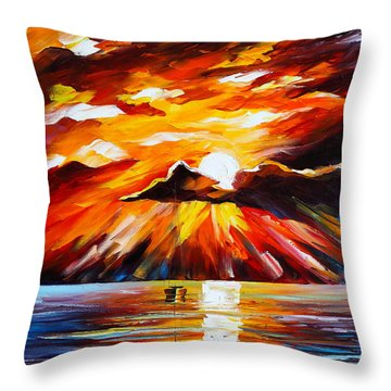 Glowing Sun Throw Pillow by Leonid Afremov