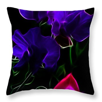 Glowing Sweet Peas Throw Pillow