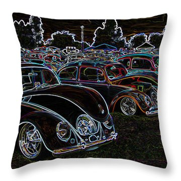 Glowing Vw Beetles Throw Pillow by Steve McKinzie