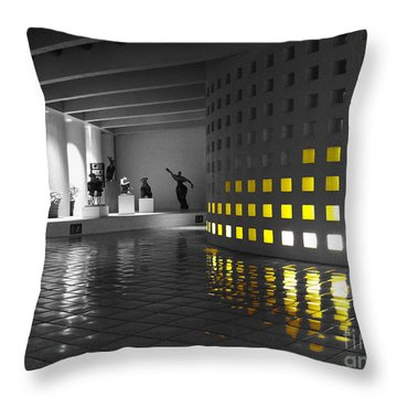 Throw Pillow featuring the photograph Glowing Wall Color Spash Black And White by Shawn O'Brien
