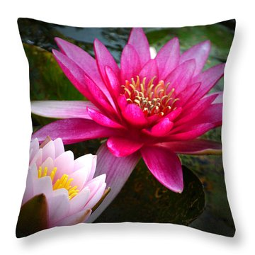 Glowing Water Lilies. Throw Pillow