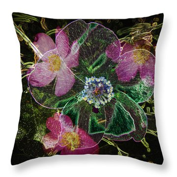 Glowing Wild Rose Throw Pillow