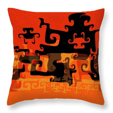 Gnarly Silhouette Parade Throw Pillow