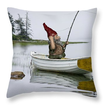Gnome Fisherman In A White Maine Boat On A Foggy Morning Throw Pillow