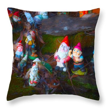 Throw Pillow featuring the photograph Gnomes On The Range by Cassandra Buckley