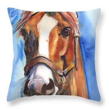 Horse Painting Of California Chrome Go Chrome Throw Pillow