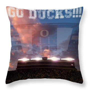 Go Ducks Throw Pillow