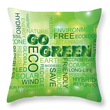 Go Green Word Cloud Green Background Throw Pillow
