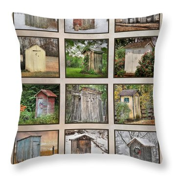 Go In Style - Outhouses Throw Pillow by Lori Deiter