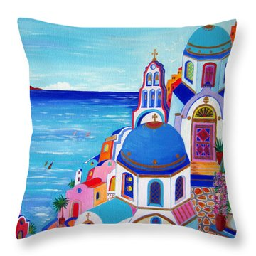 go to Santorini now Throw Pillow