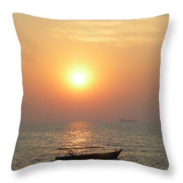 Goa Sunset Throw Pillow by Mini Arora