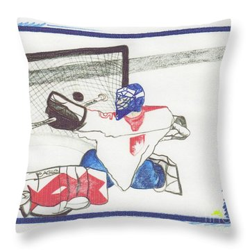 Throw Pillow featuring the drawing Goalie By Jrr by First Star Art