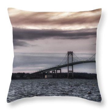 Goat Island Lighthouse And Newport Bridge Throw Pillow