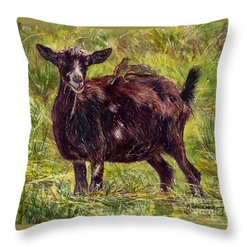 Goat Piggybackers Throw Pillow