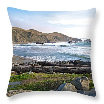 Goat Rock State Beach On The Pacific Ocean Near Outlet Of Russian River-ca  Throw Pillow