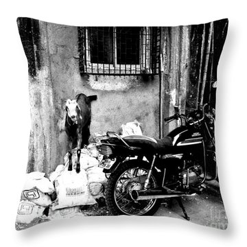 Goatercycle Black And White Throw Pillow