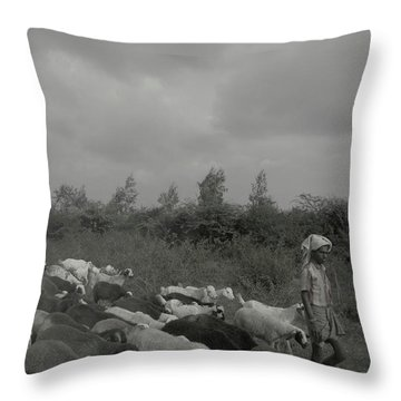 Throw Pillow featuring the photograph Goatherd's Delight by Mini Arora