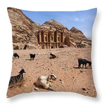 Goats In Front Of The Monastery At Petra In Jordan Throw Pillow by Robert Preston