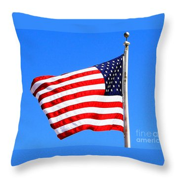 Throw Pillow featuring the photograph God Bless America by Judy Palkimas