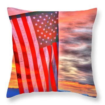 God Bless America Over Puget Sound Throw Pillow