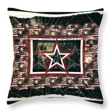 God Bless America Throw Pillow by Sherry Flaker