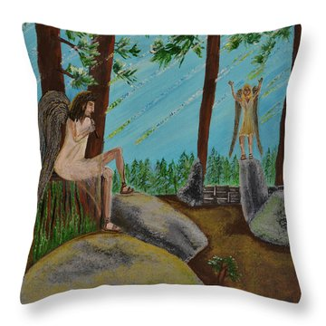Throw Pillow featuring the painting God Calls His Angels by Cassie Sears