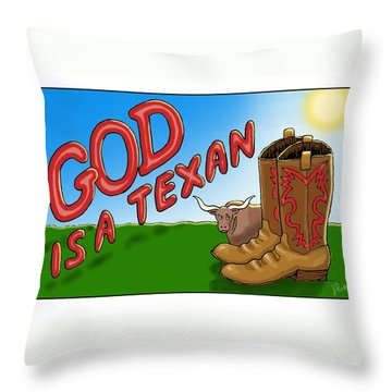 God Is A Texan Throw Pillow by Jerry Ruffin