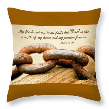 God Is My Strength Throw Pillow by Carolyn Marshall
