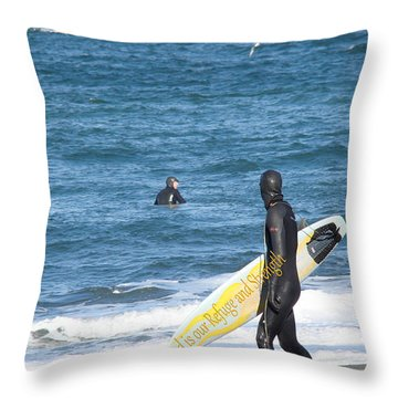 God Is Our Refuge At The Ocean Throw Pillow by Beverly Guilliams