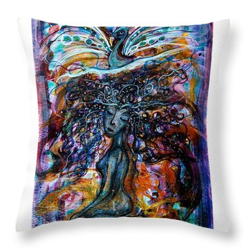 Goddess And Peacock Throw Pillow