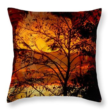 Goddess At Sunset Throw Pillow by Leanne Seymour