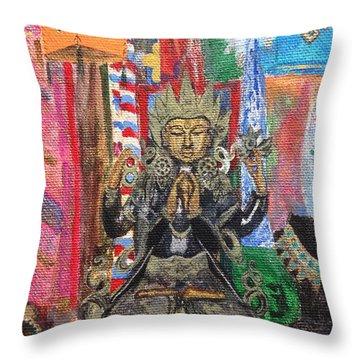 Buddha Goddess Throw Pillow by Chrissey Dittus