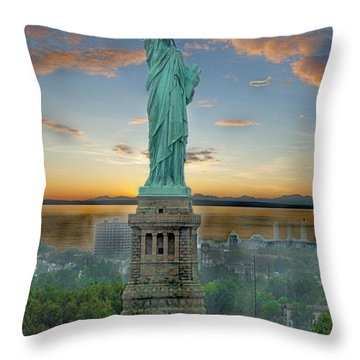 Goddess Of Freedom Throw Pillow by Gary Keesler