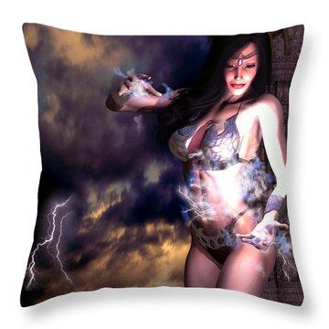 Goddess Of Storms Throw Pillow