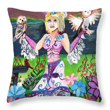 Throw Pillow featuring the painting Owl Princess by Artists With Autism Inc