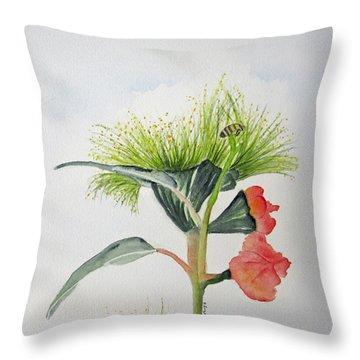 Flowering Gum Tree Throw Pillow by Elvira Ingram