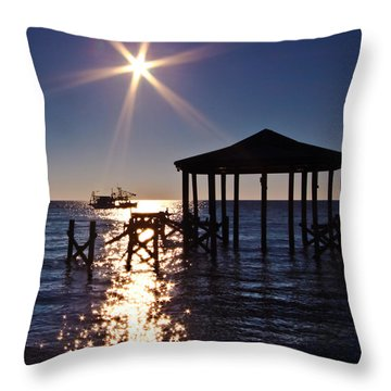 God's Sun Flower At Sea Throw Pillow