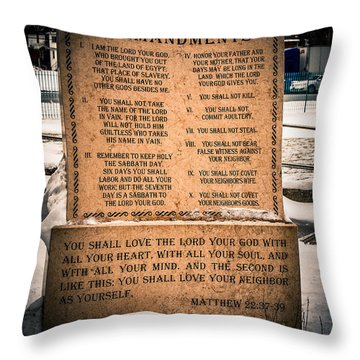 God's Ten Commandments Throw Pillow