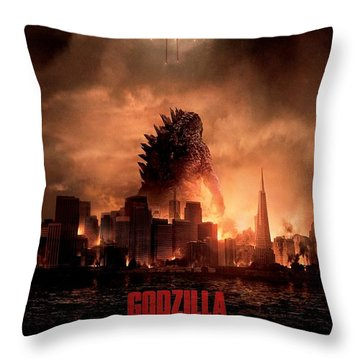 Godzilla 2014 Throw Pillow by Movie Poster Prints