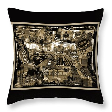 Goin' To Kansas City - Grunge Collage Throw Pillow by Ellen Tully