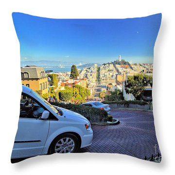 Going Down Lombard Street Throw Pillow