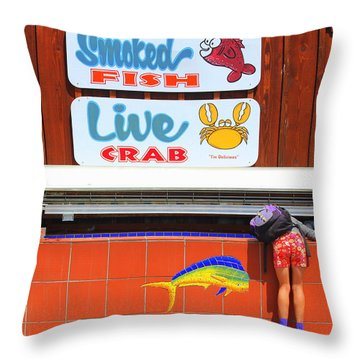 Going Fishing Throw Pillow by Kris Hiemstra